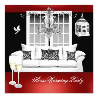 HouseWarming Red White Black Chandelier Card
