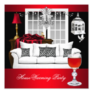 HouseWarming Red White Black Chandelier RED 13 Cm X 13 Cm Square Invitation Card