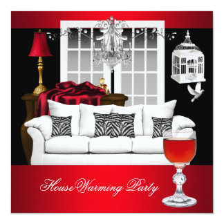 """HouseWarming Red White Black Chandelier RED 5.25"""" Square Invitation Card"""