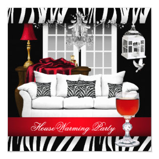 HouseWarming Red White Black Chandelier Zebra Card