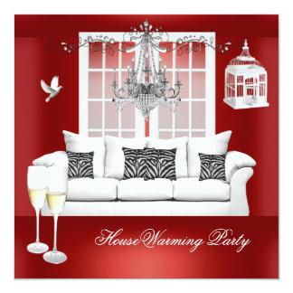 HouseWarming Red White Champagne Chandelier Invitation
