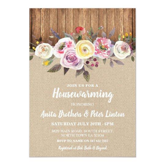 Housewarming Rustic Burlap Wood Floral Invite