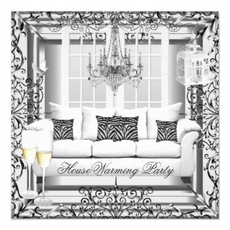 HouseWarming Silver White Champagne Chandelier 13 Cm X 13 Cm Square Invitation Card