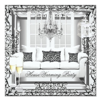 HouseWarming Silver White Champagne Chandelier Personalized Invitations