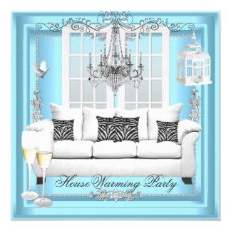 HouseWarming Teal Blue White Champagne Chandelier 13 Cm X 13 Cm Square Invitation Card
