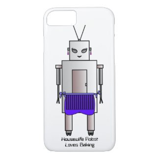 Housewife Robot Loves Baking, Retro Vintage Robot iPhone 7 Case