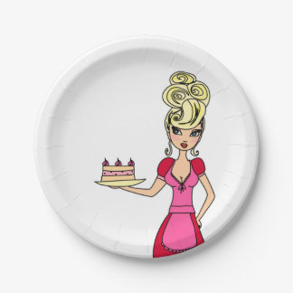 Housewife serving cake Paper Plate 7 Inch Paper Plate