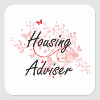 Housing Adviser Artistic Job Design with Butterfli Square Sticker