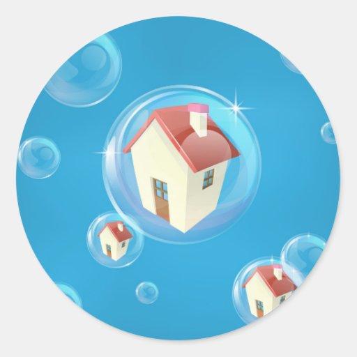 Housing bubble concept round sticker