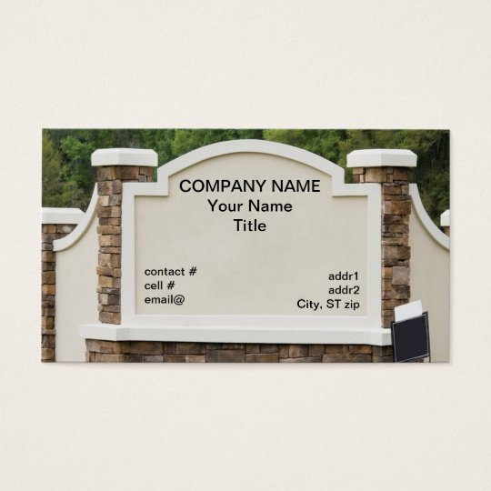 housing development sign business card