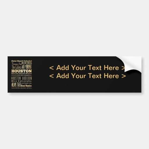 Houston City of Texas State Typography Art Bumper Sticker