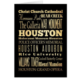 Houston City of Texas State Typography Art Greeting Card