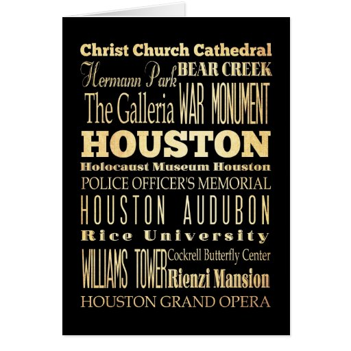 Houston City of Texas State Typography Art Card