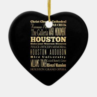 Houston City of Texas State Typography Art Ceramic Heart Decoration
