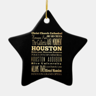 Houston City of Texas State Typography Art Ceramic Star Decoration