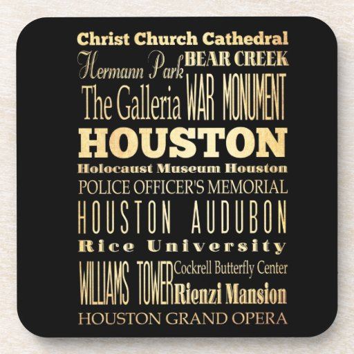Houston City of Texas State Typography Art Drink Coasters