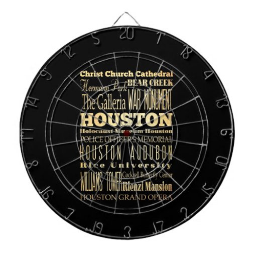 Houston City of Texas State Typography Art Dart Boards