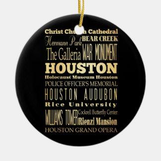 Houston City of Texas State Typography Art Round Ceramic Decoration