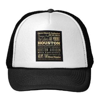 Houston City of Texas State Typography Art Trucker Hats