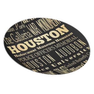 Houston City of Texas State Typography Art Party Plate