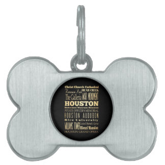 Houston City of Texas State Typography Art Pet Tag