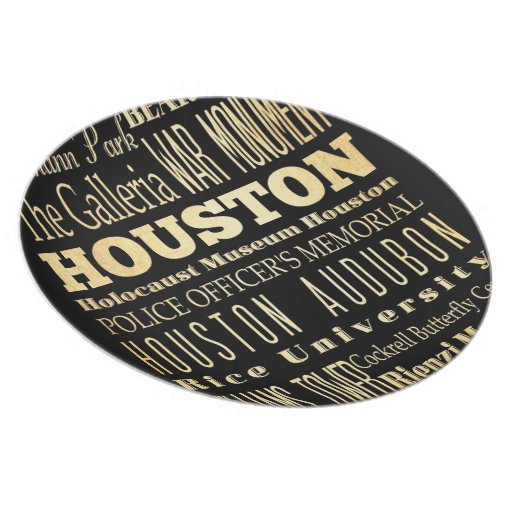 Houston City of Texas State Typography Art Dinner Plate
