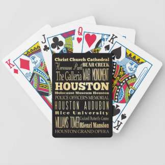 Houston City of Texas State Typography Art Bicycle Poker Deck