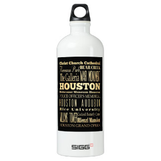 Houston City of Texas State Typography Art SIGG Traveller 1.0L Water Bottle
