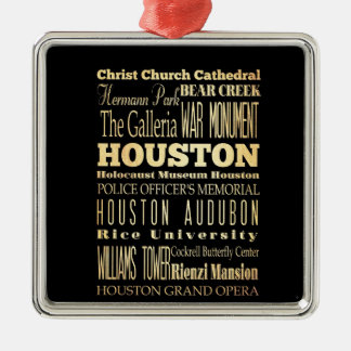 Houston City of Texas State Typography Art Silver-Colored Square Decoration