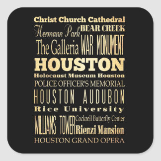 Houston City of Texas State Typography Art Square Sticker