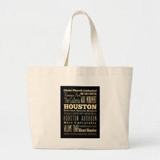 Houston City of Texas State Typography Art Jumbo Tote Bag