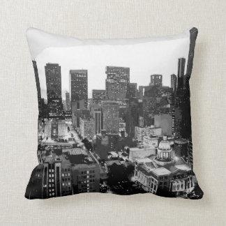 Houston City Scene - Reversible - Neon/BlkWhite Throw Pillows