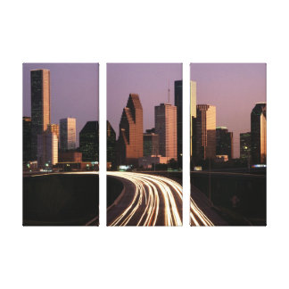 Houston city skyline at dusk 3 panel canvas gallery wrapped canvas