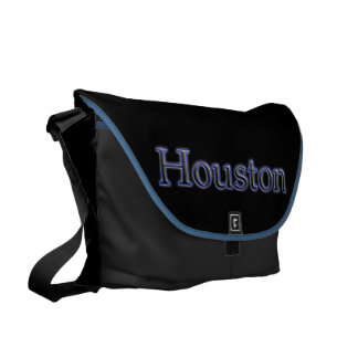Houston in Grey and Blue - On Black Messenger Bag