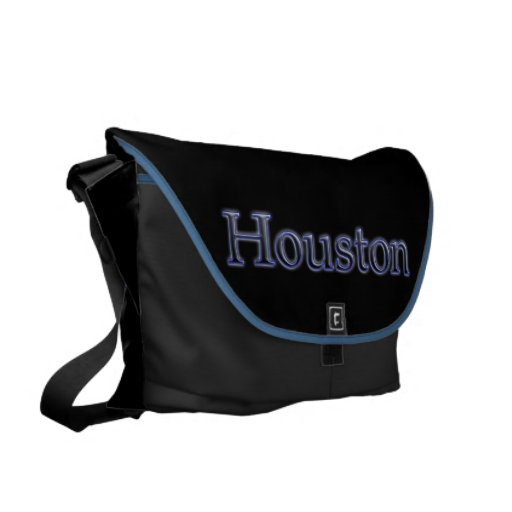 Houston in Grey and Blue - On Black Messenger Bags