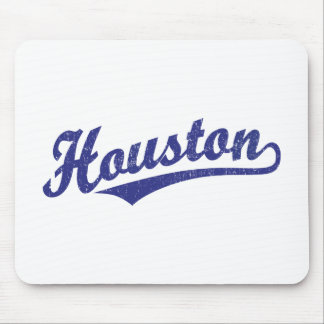 Houston script logo in blue distressed mouse pad