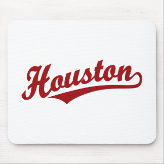 Houston script logo in red mouse pads