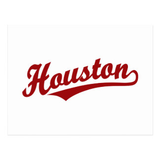 Houston script logo in red postcard