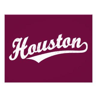 Houston script logo in white distressed flyer