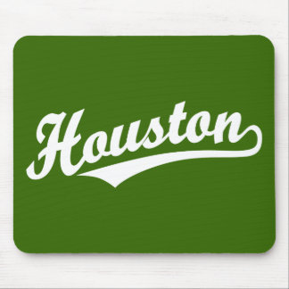 Houston script logo in white mouse pads