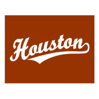 Houston script logo in white postcard