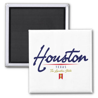 Houston Script Square Magnet