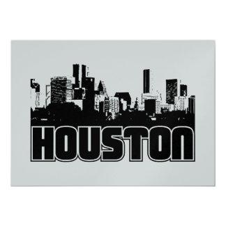 Houston Skyline 13 Cm X 18 Cm Invitation Card