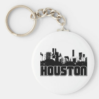 Houston Skyline Basic Round Button Key Ring