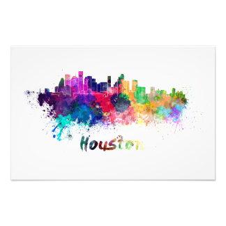 Houston skyline in watercolor photographic print