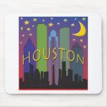 Houston Skyline nightlife Mouse Mat