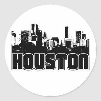 Houston Skyline Round Sticker