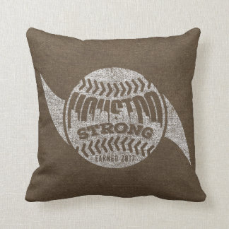 Houston Strong Distressed Baseball Hurricane Cushion