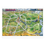 Houston Texas Cartoon Map Postcard