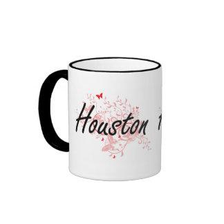 Houston Texas City Artistic design with butterflie Ringer Mug